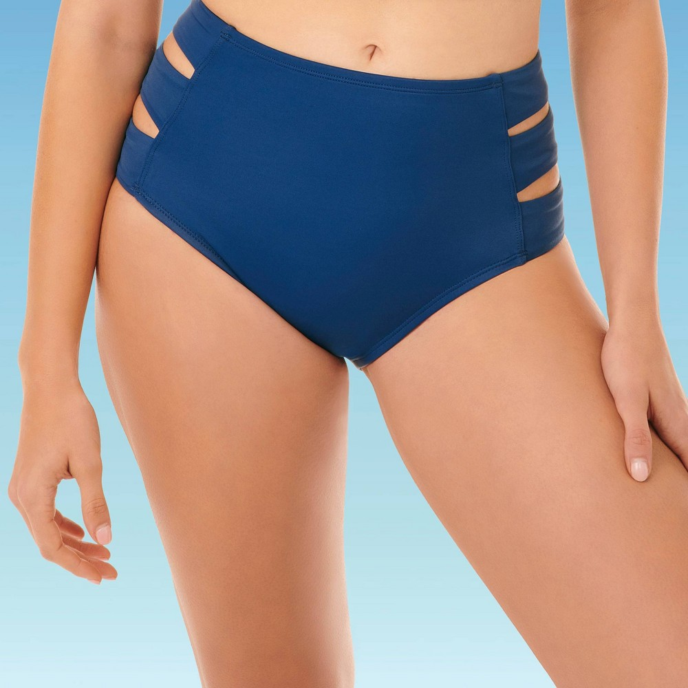 Women's Slimming Control Side Cut Out Bikini Bottom Beach Betty By Miracle Brands Navy Blue Xl, Women's