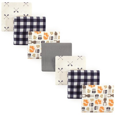 Hudson Baby Infant Boy Cotton Flannel Receiving Blankets Bundle, Forest, One Size