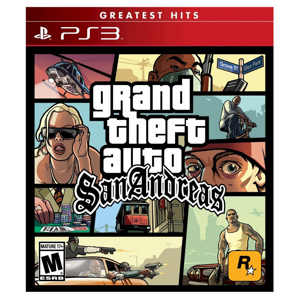 Grand Theft Auto: San Andreas Pre-Owned PlayStation 3 Get ready for your biggest game play yet with Grand Theft Auto: San Andreas Pre-Owned (PlayStation 3). This game is compatible with PlayStation 3 consoles. This game is suitable everyone 17 and up.