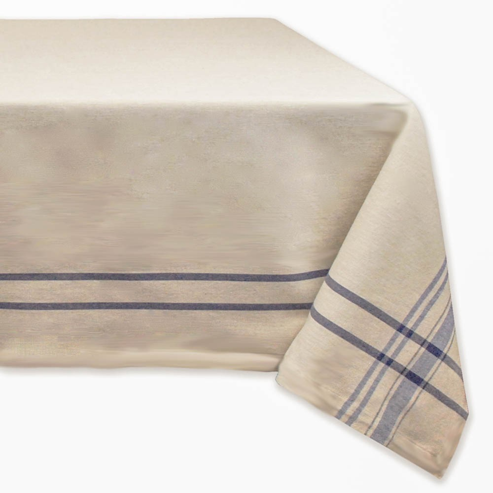"Image of ""104""""x60"""" Nautical French Stripe Tablecloth Blue - Design Imports"""
