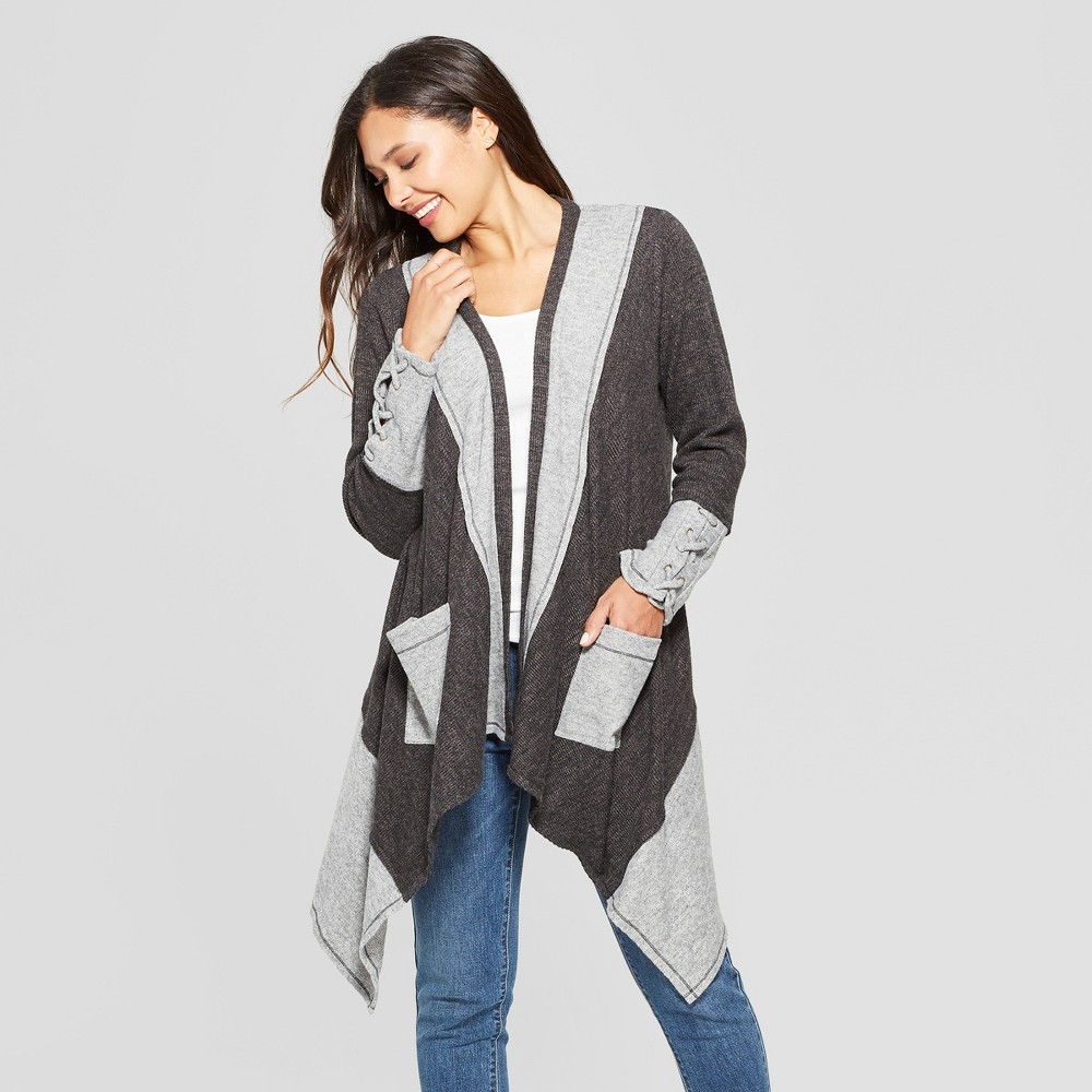 Women's Long Sleeve Lace-Up Cuff Patchwork Open Layering Jacket - Knox Rose Gray S, Blue
