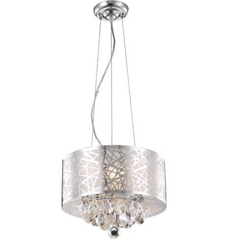 Elegant Lighting 2079d14 Prism 14 Wide 3 Light Full Sized Single Drum Pendant With Crystal Accents Chrome Target