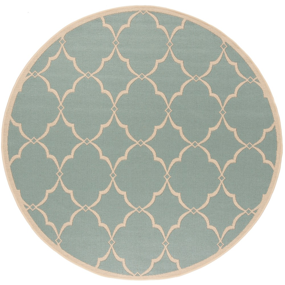 67 Round Geometric Loomed Area Rug Aqua/Cream - Safavieh Buy