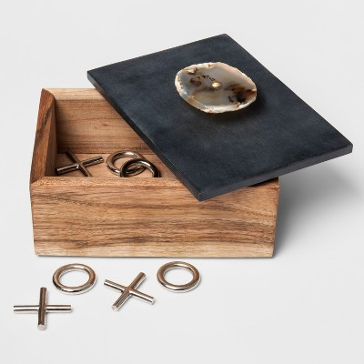 Stone Topped Wood Box with Agate Knob - Threshold™