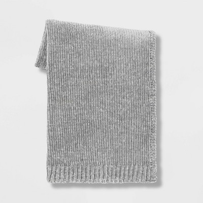 "60""x50"" Shiny Chenille Throw Blanket Light Gray - Project 62™"