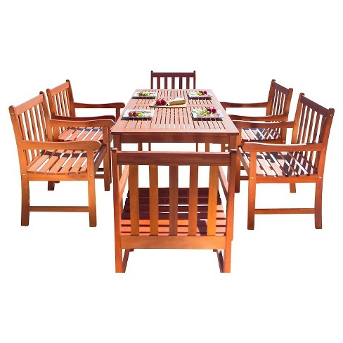 Vifah Malibu Eco-Friendly 7-Piece Wood Outdoor Dining Set - Brown - image 1 of 2
