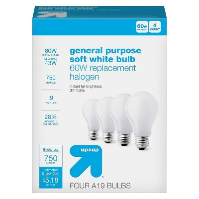 Light Bulb Halogen General Purpose Soft White 4PK 60W - Up&Up™