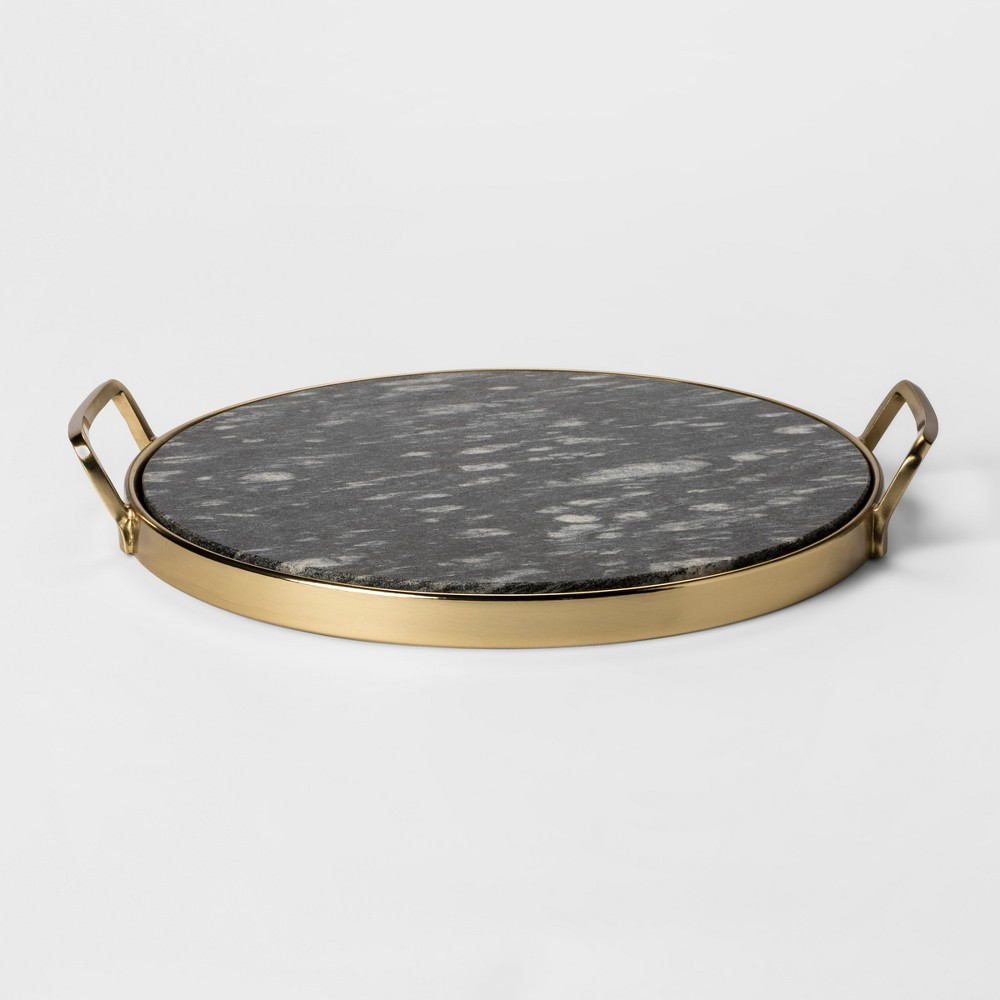 Decorative Round Tray - Gold/Black Marble - Project 62, Brass