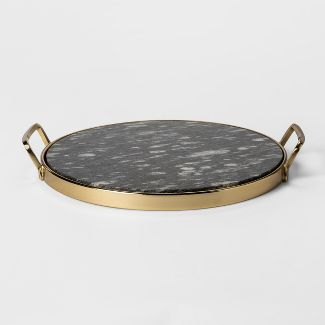 Decorative Round Tray - Gold/Black Marble - Project 62™