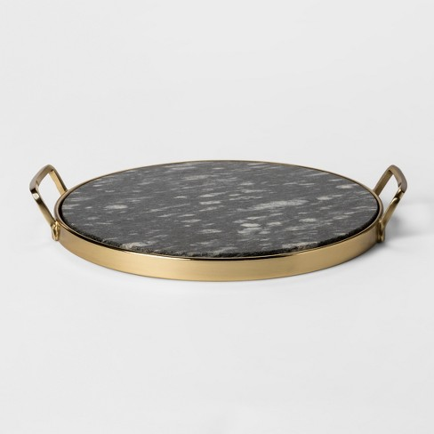 Decorative Round Tray Gold Black Marble Project 62