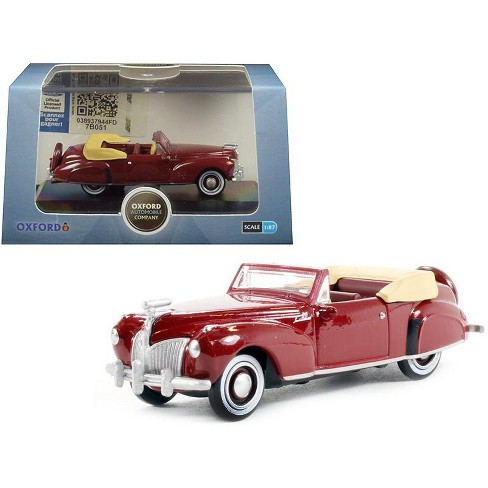 1941 Lincoln Continental Convertible Maroon 1/87 (HO) Scale Diecast Model Car by Oxford Diecast - image 1 of 3