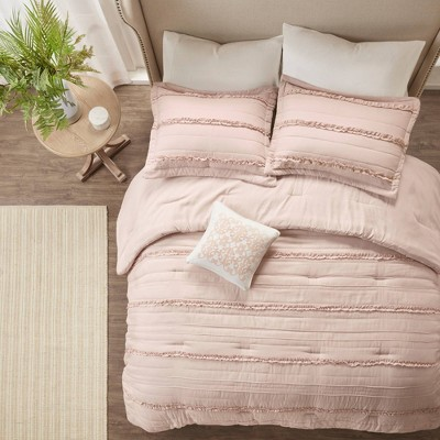 Alexis Ruffle Comforter Set (King)Pink - 5pc