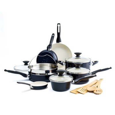 GreenPan Rio 16pc Cookware Set Black