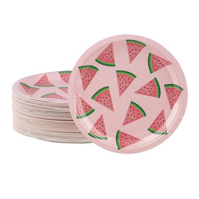 Blue Panda 80 Pack Watermelon Pink Disposable Paper Plates 9 inch Kids Birthdays Party Supplies & Decorations