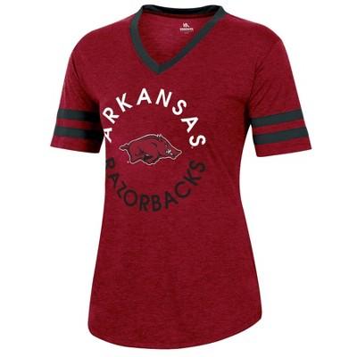 NCAA Arkansas Razorbacks Women's Short Sleeve V-Neck Heathered T-Shirt