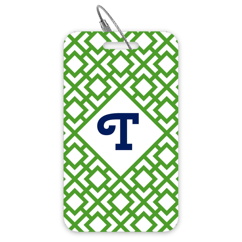 Single Luggage Tag: Green-Cherry Swash - Monogram T, Green-T