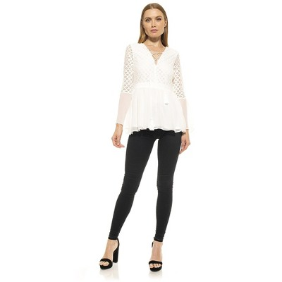 Alexia Admor Juliet Lace Flare Sleeve Top