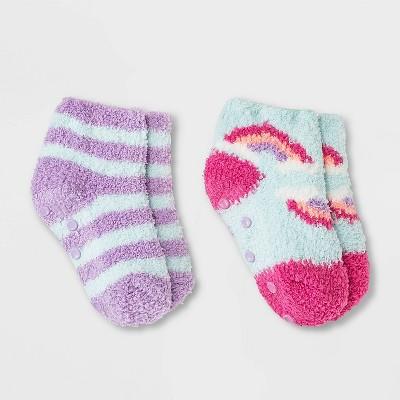 Toddler 2pk Cozy Ankle Socks - Cat & Jack™ Turquoise Blue 6-7