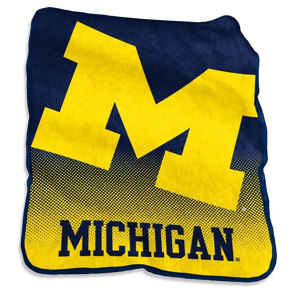 NCAA Michigan Wolverines Logo Brands Raschel Throw Blanket
