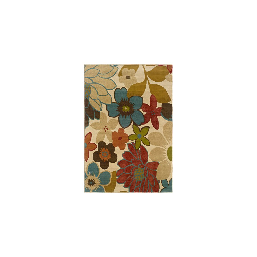 5'x7'6 Floral Area Rug Beige, Multicolored