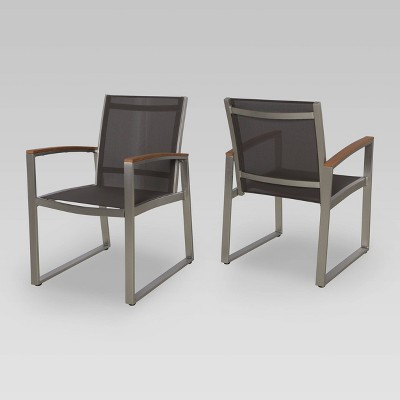 2pk Glasgow Mesh Patio Dining Chairs Gray - Christopher Knight Home