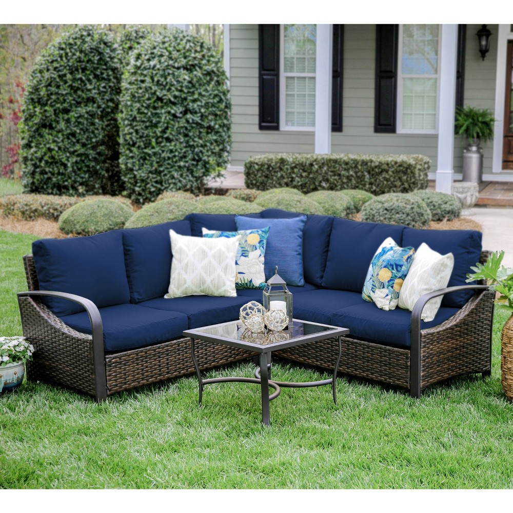 Image of 4pc Trenton All-Weather Wicker Corner Sectional Navy - Leisure Made