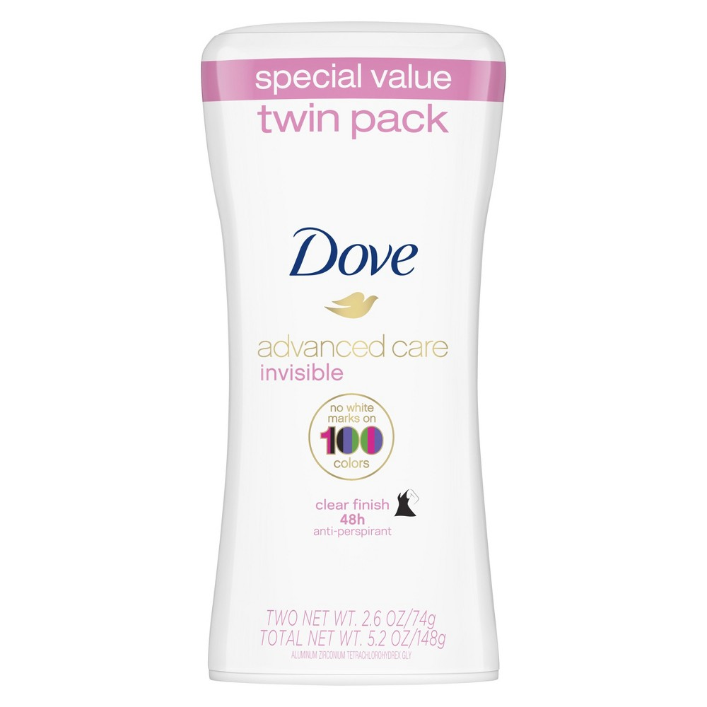 Image of Dove Advanced Care Clean Finish Invisible Solid Deodorant Twin Pack - 2.6oz