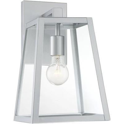 """John Timberland Modern Outdoor Wall Light Fixture Sleek Silver Steel 13"""" Clear Glass for Exterior House Porch Patio Deck"""