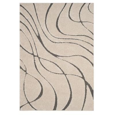 Cream/Gray Swirl Loomed Area Rug 5'3 X7'6  - Safavieh