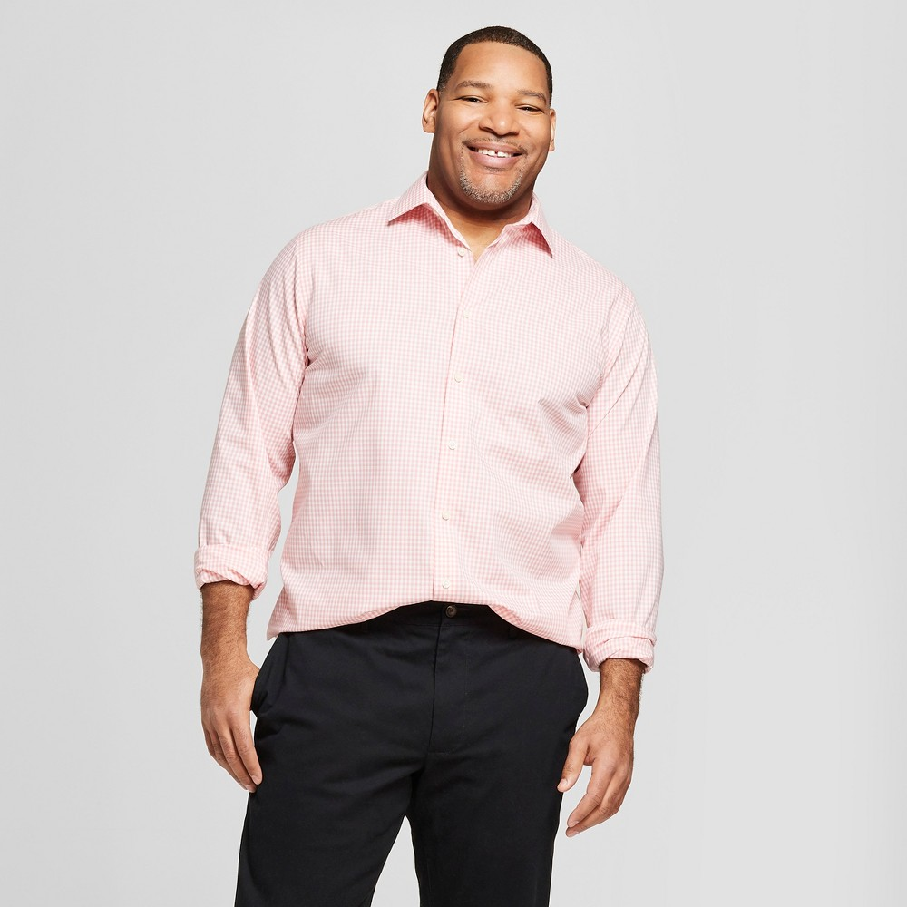 Men's Big & Tall Plaid Standard Fit Long Sleeve Button-Down Dress Shirt - Goodfellow & Co Peach (Pink) 4XB