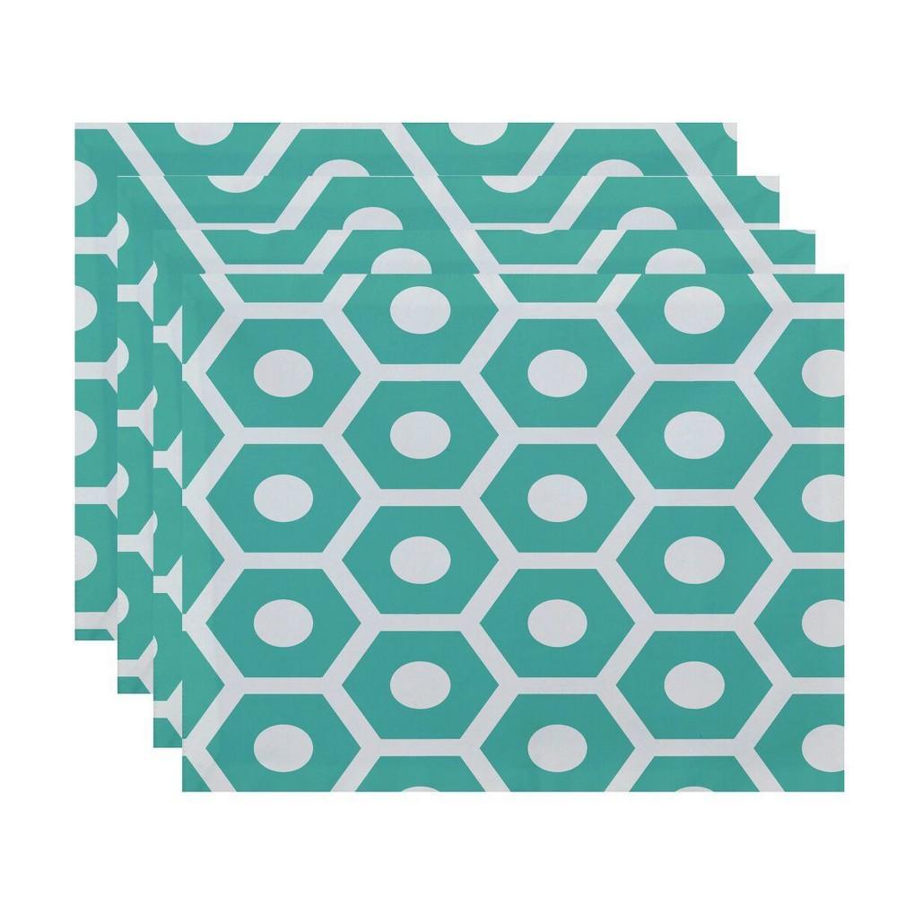 Set of 4 Aqua (Blue) Honeycomb Placemat - E by design
