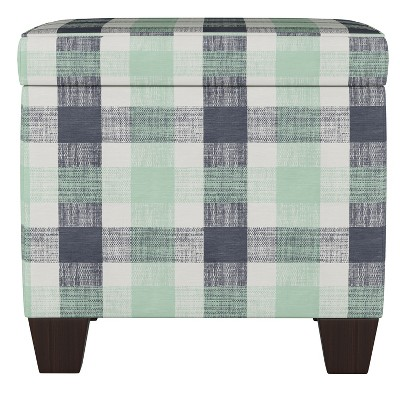Fairland Square Storage Ottoman Check Navy Green - Threshold™