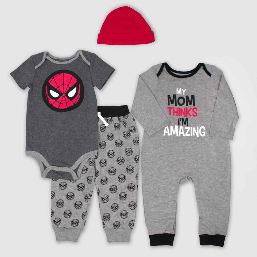 Image of Baby Boys' 4pc Marvel Spider-Man Set - Gray 12M, Boy's