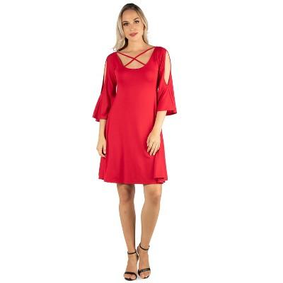 24seven Comfort Apparel Women's Knee Length Dress