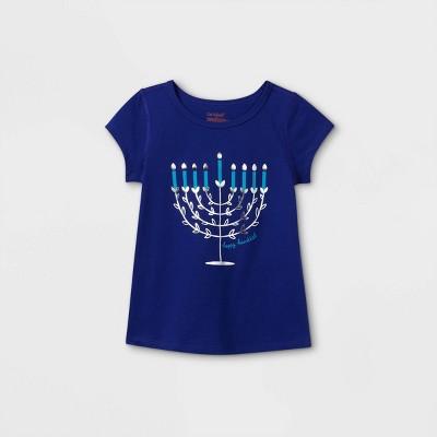 Toddler Girls' Adaptive Hanukkah Menorah Short Sleeve Graphic T-Shirt - Cat & Jack™ Blue