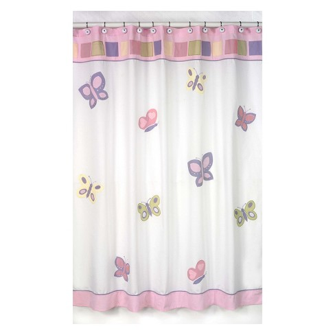 Butterfly Shower Curtain Pink White