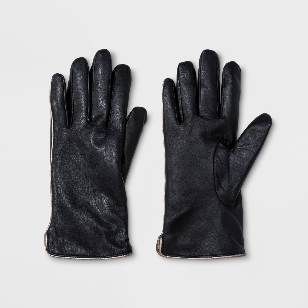 Women's Leather Glove With Tech Touch - A New Day Black M/L