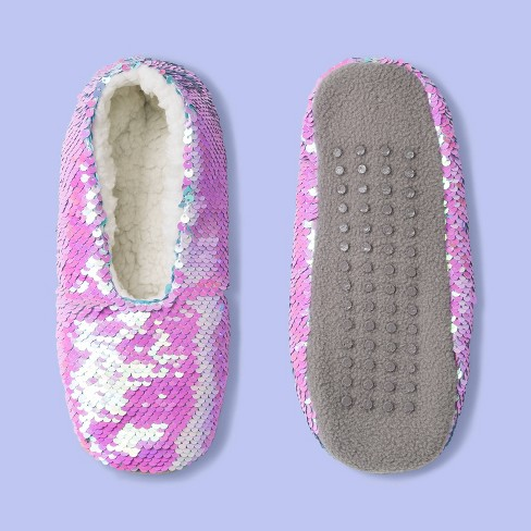 Girls' Sequin Pull-On Slipper Socks - More Than Magic™ Pink/Blue - image 1 of 2