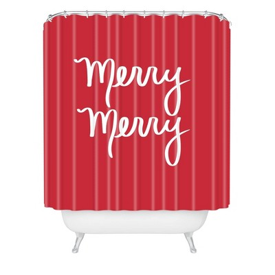 Lisa Argyropoulos Merry Christmas Shower Curtain Red - Deny Designs