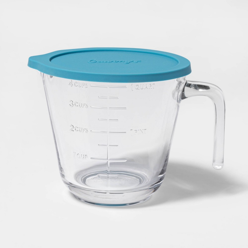Image of Cravings by Chrissy Teigen 4 Cup Glass My Go To Liquid Measuring Cup with Lid, Clear