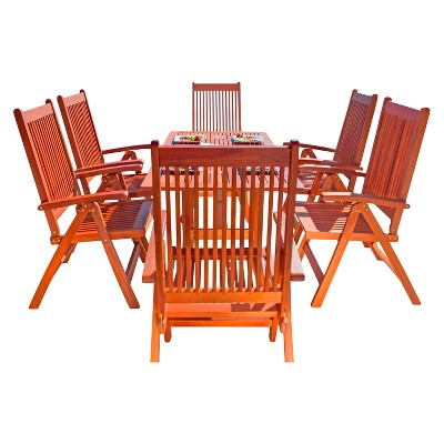 Vifah Malibu Eco Friendly 7 Piece Wood Outdoor Dining Set With Foldable Arm  Chairs   Brown