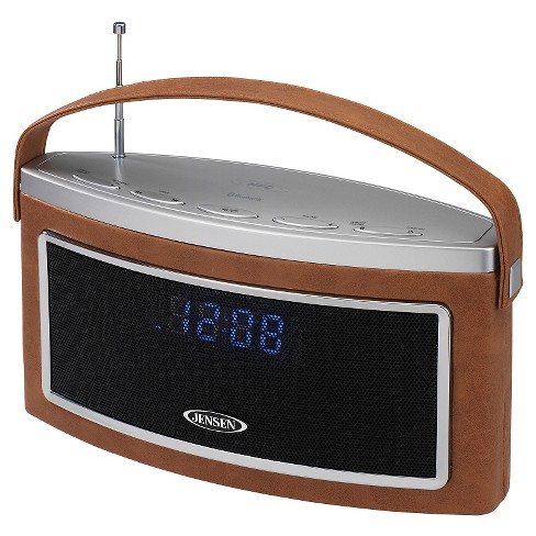 Jensen Wireless Bluetooth Stereo Speaker with FM Radio and Audio Line Input - Brown (SMPS-725) - image 1 of 3