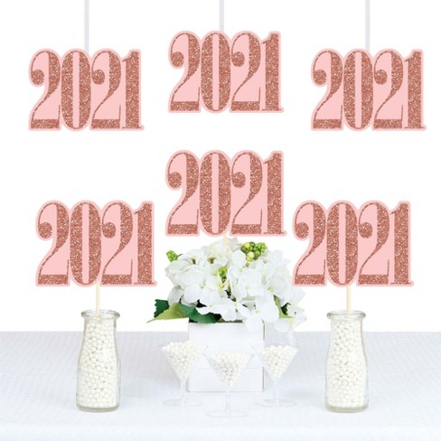 Big Dot of Happiness Rose Gold Grad - 2021 Decorations DIY Graduation Party Essentials - Set of 20 - image 1 of 4