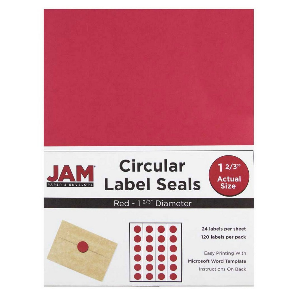 Jam Paper Circle Sticker Seals 1 2/3 120ct - Red Jam Paper Round Circle Label Sticker Seals measure 1 2/3 inches in diameter and are sold on sheets of 24 labels. Each pack contains 5 sheets for a total of 120 labels per pack! These labels feature a light, soft, and inviting baby blue color that will give a peaceful and calm look to your mail. These labels are great for reinforcing envelopes, creating small price tags for yard sales, marking mail or items with initials, and more! Compatible with most printers, these labels can be customized in your own office or home. Additionally, they are easy to write on with most kinds of pens and markers. Try these round labels for your home or office needs. Color: Red. Age Group: Adult.