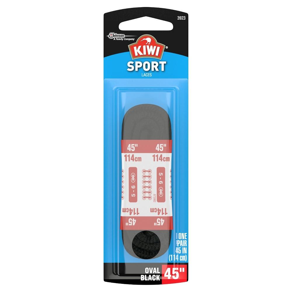 Kiwi Sport Oval Laces Black 45 2 pairs, Adult Unisex