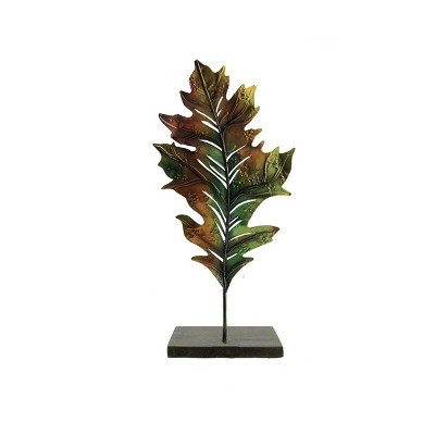 """Roman 14"""" Green and Brown Autumn Harvest Leaf Votive Candle Holder"""