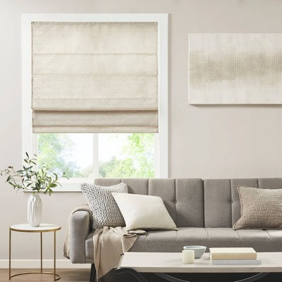 Aberdeen Printed Faux Silk Room Darkening Cordless Roman Blinds and Shade Ivory