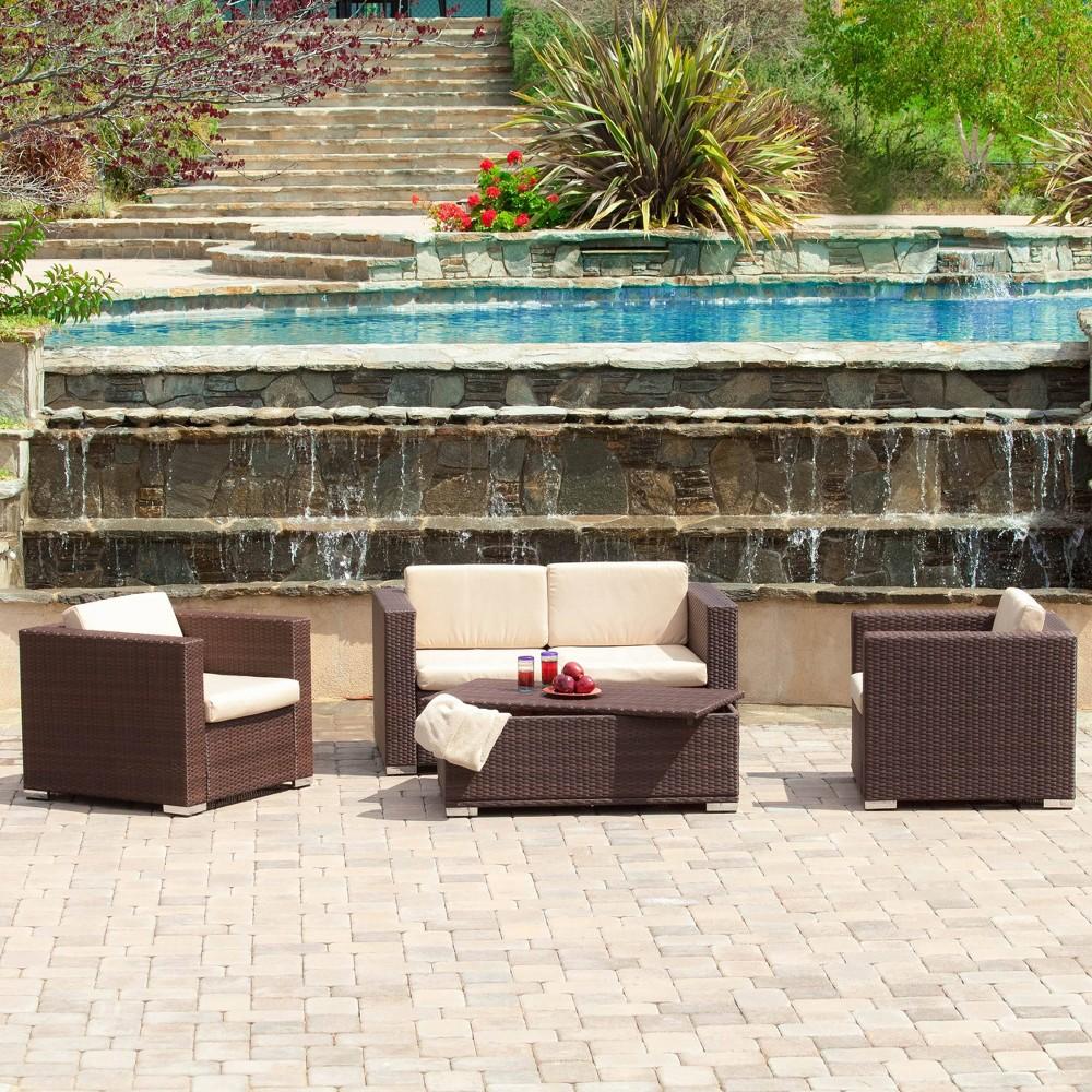 Murano 4pc Wicker Patio Sofa Set - Brown - Christopher Knight Home