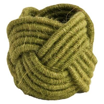 Braided Jute Napkins Rings - Green (Set of 4)