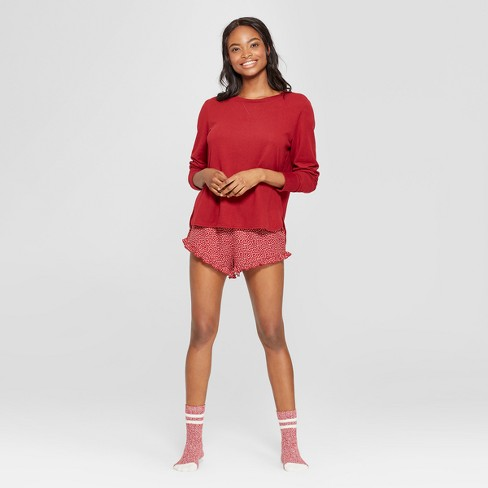 3e680b437e Women s Polka Dot 3pc Lounge Pajama Set - Xhilaration™ Burgundy XS   Target